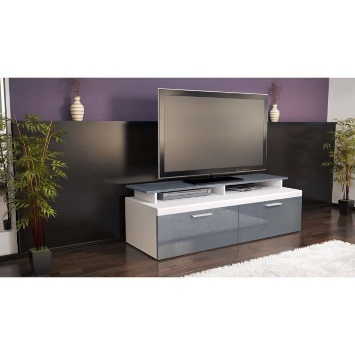 meuble tv bas blanc et gris laqu 140 cm achat vente meuble tv meuble tv bas blanc et gris. Black Bedroom Furniture Sets. Home Design Ideas