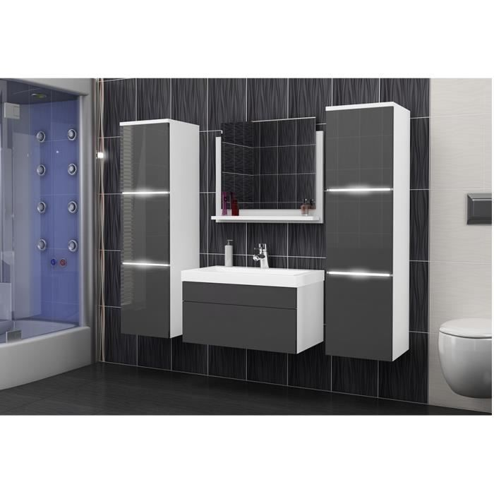 salle de bain compl te luna blanc et gris fa ade laqu brillante high gloss led vasque en. Black Bedroom Furniture Sets. Home Design Ideas