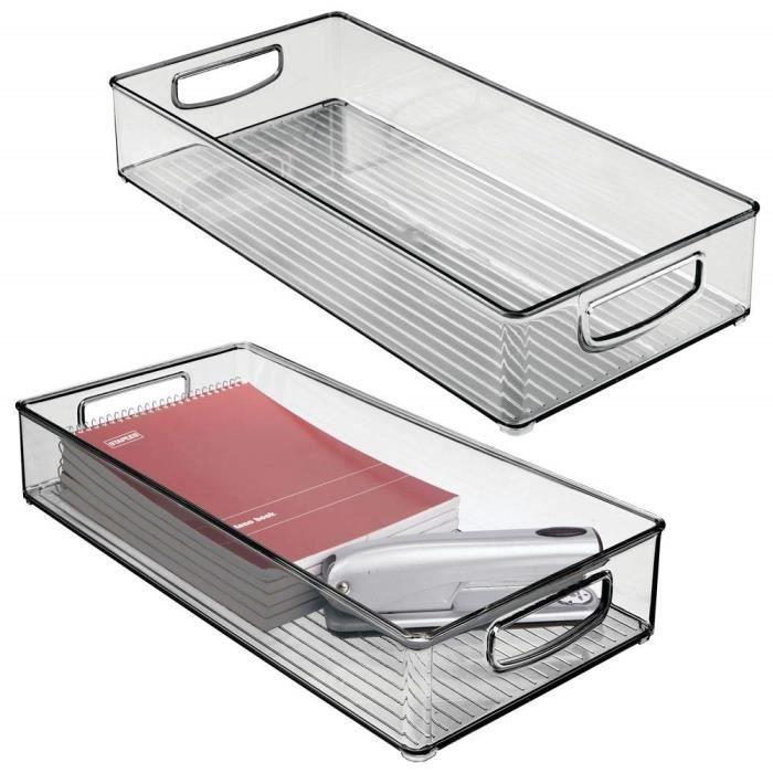 bureau boite plastique pour stocker des fournitures boite rangement en plastique avec poign/ées int/égr/ées mDesign boite stockage pour la cuisine salle de bain transparent//gris