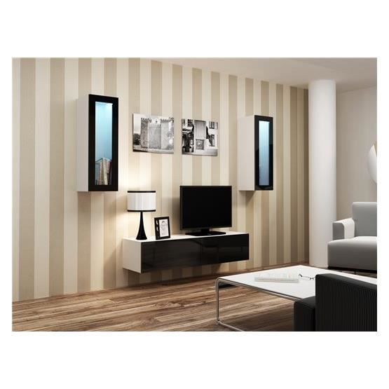 meuble tv design suspendu viki blanc et noir achat. Black Bedroom Furniture Sets. Home Design Ideas