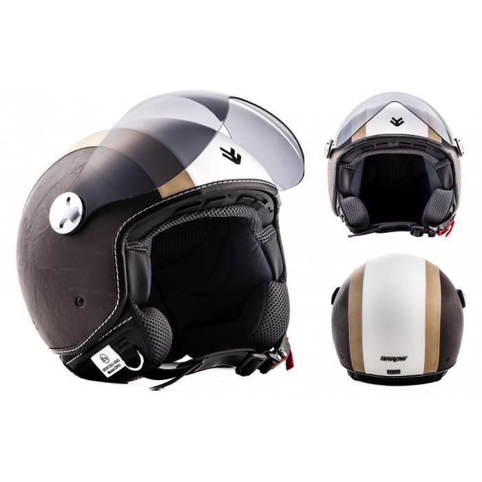 arrowav 84 vintage creme jet moto casque vespa pilot scooter ece certified achat vente. Black Bedroom Furniture Sets. Home Design Ideas