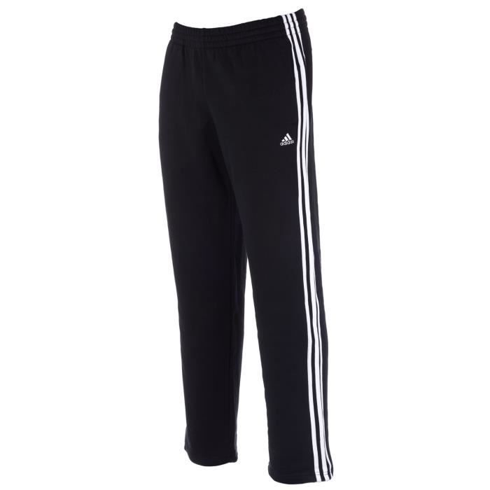 pantalon de surv tement 3 bandes adidas essentials pour homme en noir noir achat vente. Black Bedroom Furniture Sets. Home Design Ideas