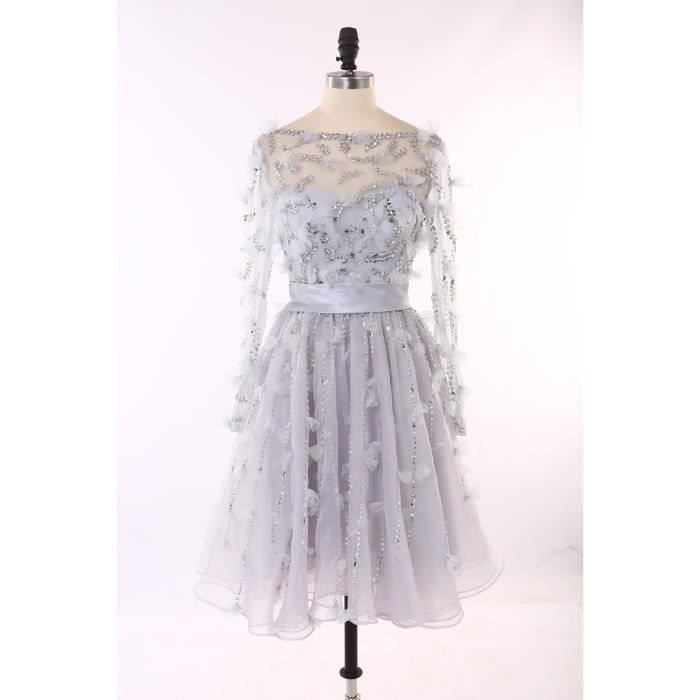 4bcd95e66570b Robe de soirée mariage courte col bateau manches longues dos nu perles  strass sexy lilas homecoming dress tulle fée haute couture