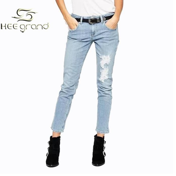 femme fille jean trou de pantalon casual style r tro hee grand bleu bleu achat vente jeans. Black Bedroom Furniture Sets. Home Design Ideas