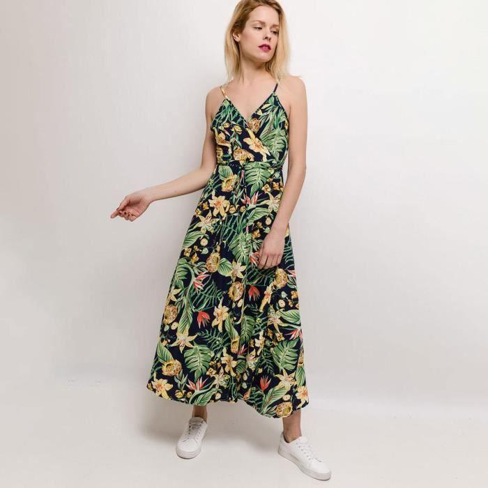 Robe Longue Cache Cœur Tropicale Taille S M Vert Achat Vente Robe Cdiscount