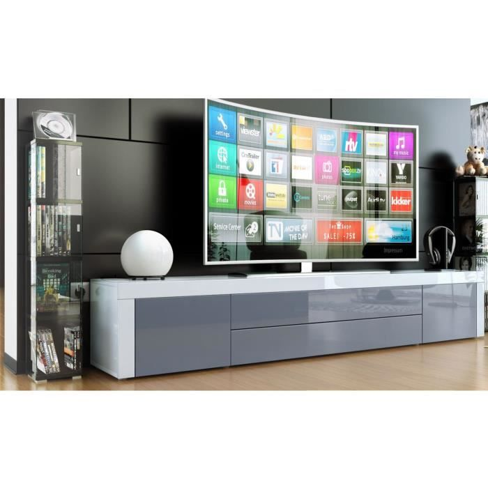 meuble bas tv laqu blanc gris achat vente meuble tv meuble bas tv laqu blanc cdiscount. Black Bedroom Furniture Sets. Home Design Ideas