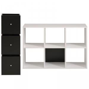 Biblioth que 6 cases 3 cubes cubo blanc p achat for Meuble cube 6 cases