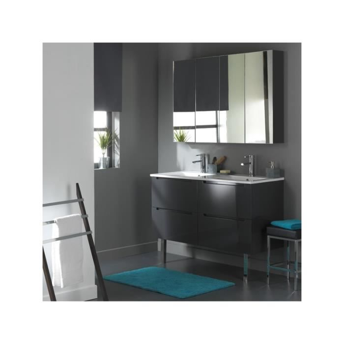 meuble de salle de bain double vasque gris laqu avec 4 tiroirs achat vente lavabo vasque. Black Bedroom Furniture Sets. Home Design Ideas