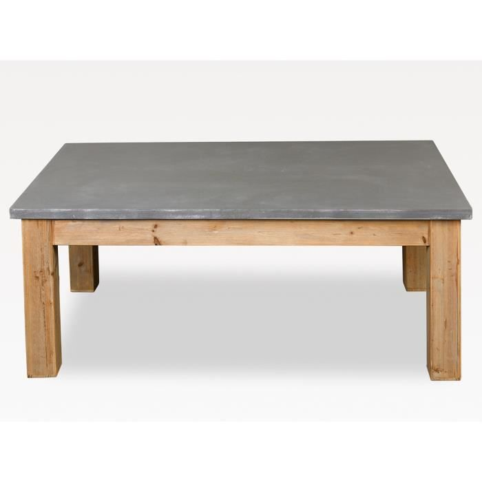 Simla table basse en bois naturel et gris ciment simla for Table basse en bois naturel