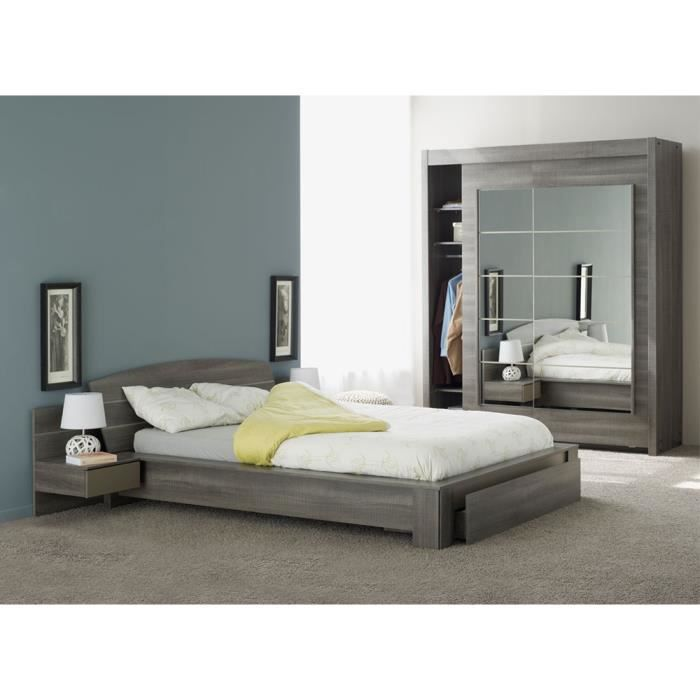 Chambre adulte compl te 140 190 ch ne gris sleep l for Chambre adulte complete en pin