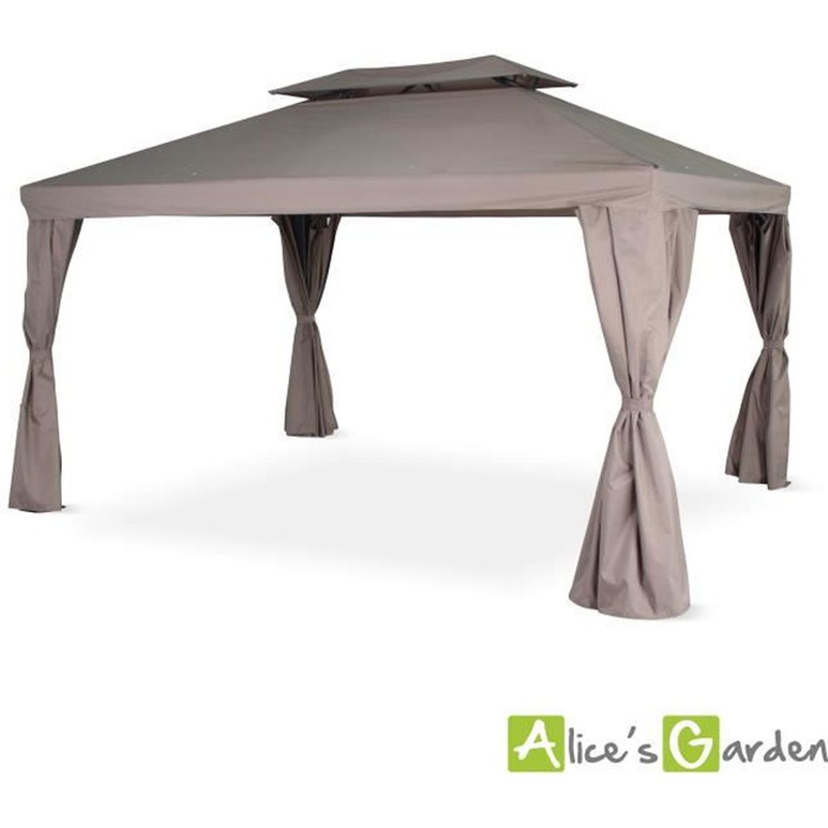 tente de jardin pergola aluminium 3x4m divodorum taupe avec rideaux coulissant tonnelle abri. Black Bedroom Furniture Sets. Home Design Ideas