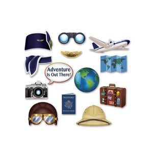 KIT DE DECORATION Kit photobooth Tour du Monde 13 accessoires