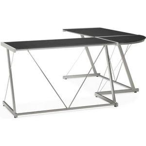 BUREAU  Bureau d'angle design ROVIGO en verre et métal noi