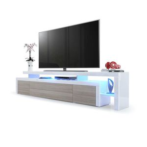 MEUBLE TV Meuble TV bas Corps en Blanc haute brillance / Faç