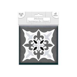 STICKERS 6 Stickers carreaux de ciment Lys - 15 x 15 cm - G