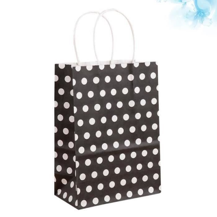 NY*25pcs Fashion Dot Pouch Creative Kraft Paper Packing Storage Bag Portable Handbag Gift (Black) VALISE OU BAGAGE VENDU SEUL