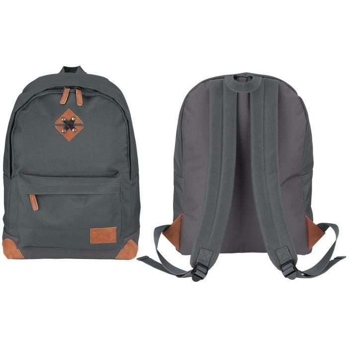 ABBEY Sac à dos de taille moyenne - 100% Polyester 300T - 42 x 30 x 16 cm - Capacité : 20 L - Gris