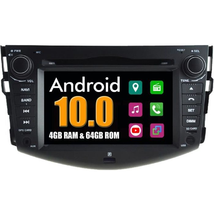 RoverOne Autoradio Bluetooth GPS Navigation pour Toyota RAV4 2008-2012 Android Stéréo DVD MirrorLink WiFi