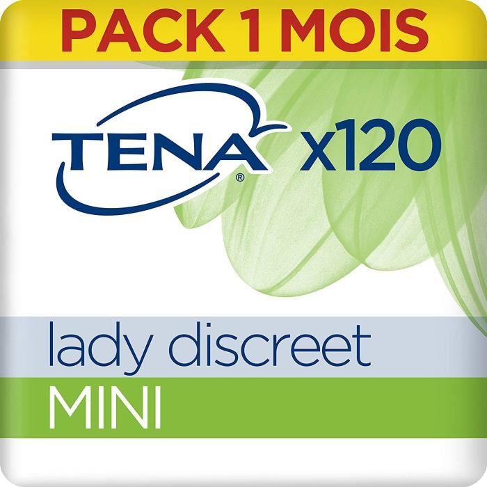 Tena Lady Discreet Mini Serviettes pour Fuites Urinaires - Incontinence (Pack 1 mois de 120 Serviettes)