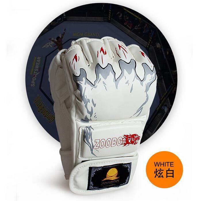 Gants de boxe Sanda gants Gants Muay Thai demi-doigts Gants UFC MMA gants (tigres, blanc)