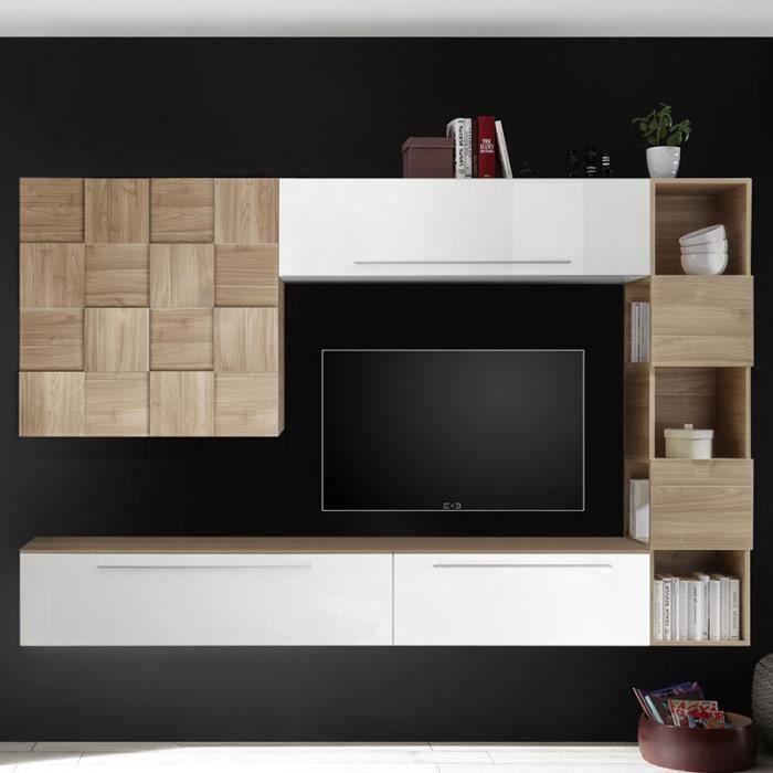 Meuble TV suspendu blanc et couleur bois clair MARCONIA Blanc L 266 x P 35 x H 200 cm