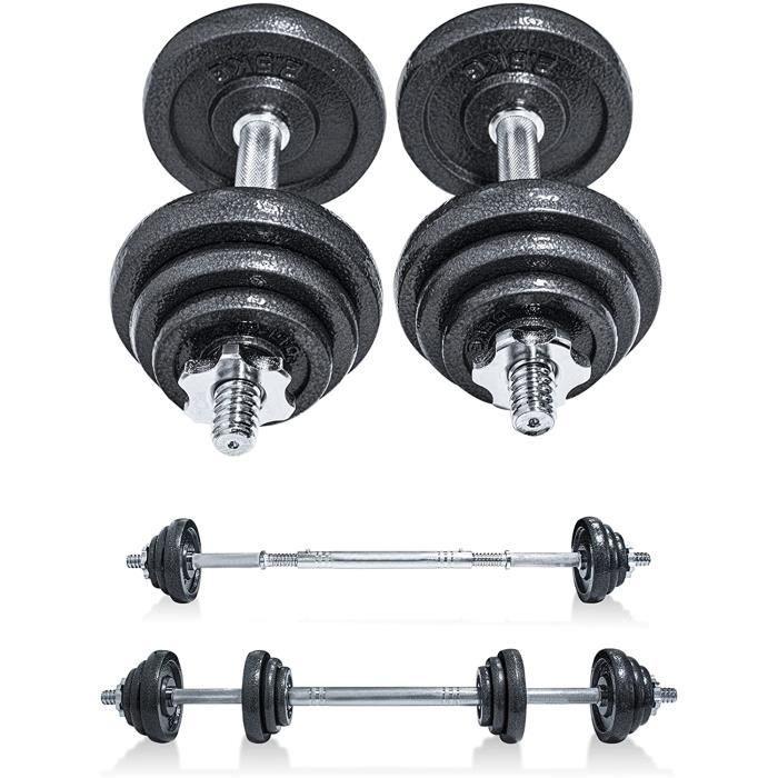 CANMALCHI Ensemble d'haltères réglables pour homme et femme de 20 kg - Noir - Parfait pour le bodybuilding, le fitness, l'halté A36