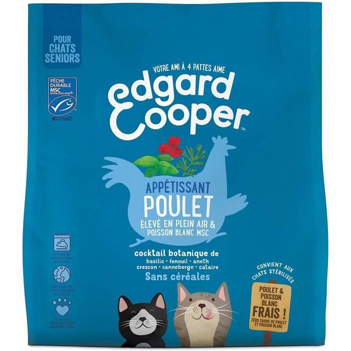 Edgard & Cooper, Nourriture Chat Senior Croquette sans Cereales 100% Naturelle Hypoallergenique, Sachet Poulet Plein air 448414