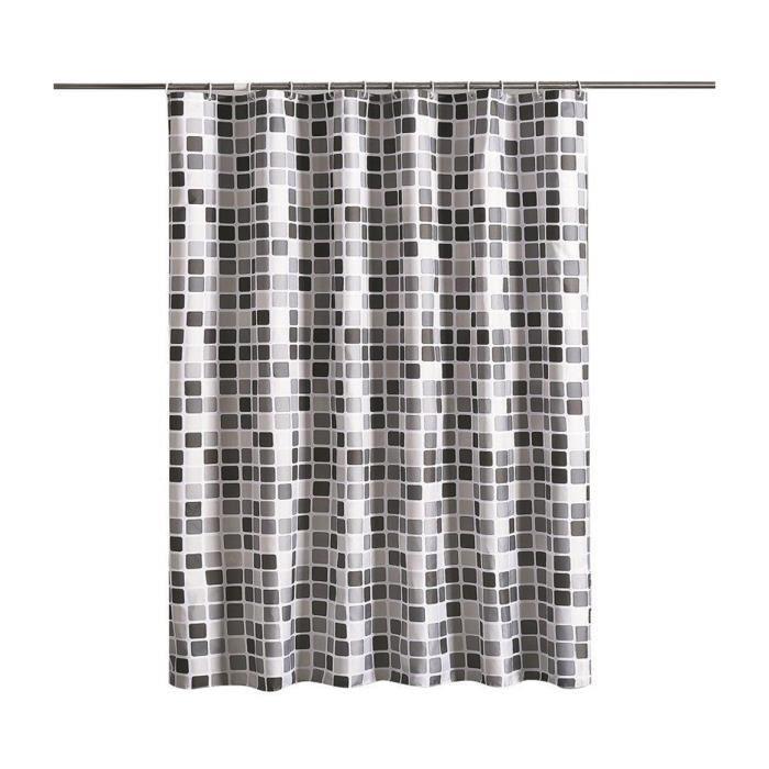 Rideau Épaissir Imperméable Moule Résistant Polyester Salle de Bains Rideaux Rideaux de Baignoire avec crochets 180*180 cm