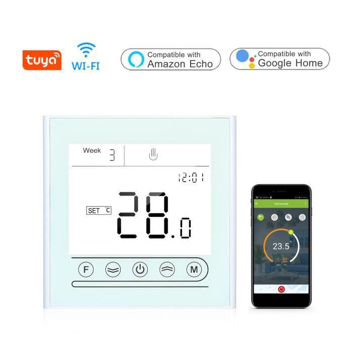 Contrôleur de température programmable de Thermostat intelligent WiFi Tuya pour le chauffage de l'eau Compatible avec l'écran tact