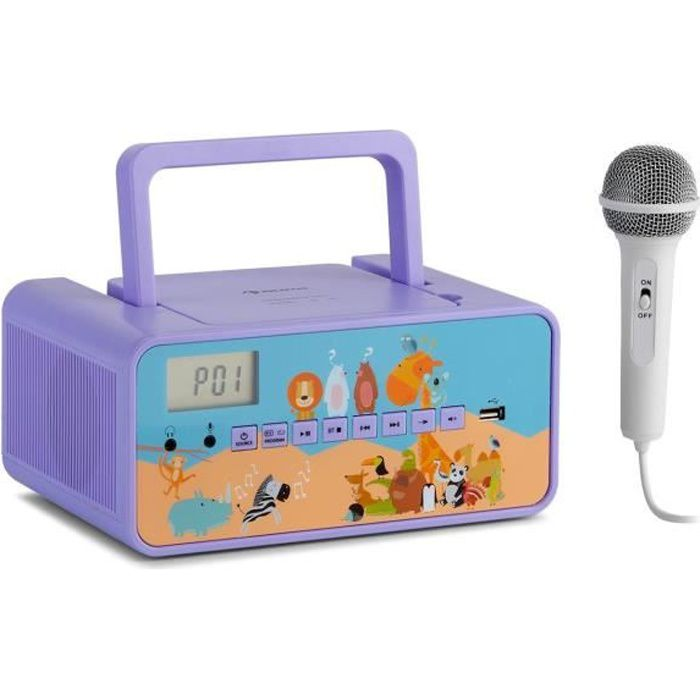 auna Kidsbox Zoo-CD Boombox radio Lecteur CD , Bluetooth , USB écran LCD , motif fruits - Blanc