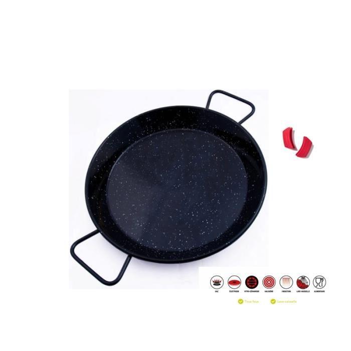 Premium Paella Induction Revêtement Marbre Avec Manche AntiChaleur Silicone 38 cm