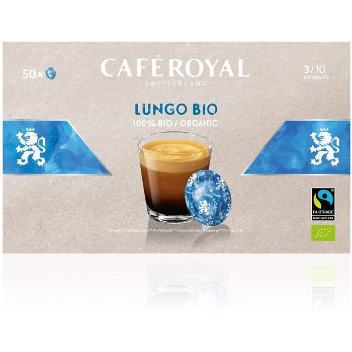 CAFE ROYAL PRO - 300 CAPSULES COMPATIBLES NESPRESSO PRO® - LUNGO BIO - 6 Boites de 50 Capsules Compatibles Nespresso Pro®
