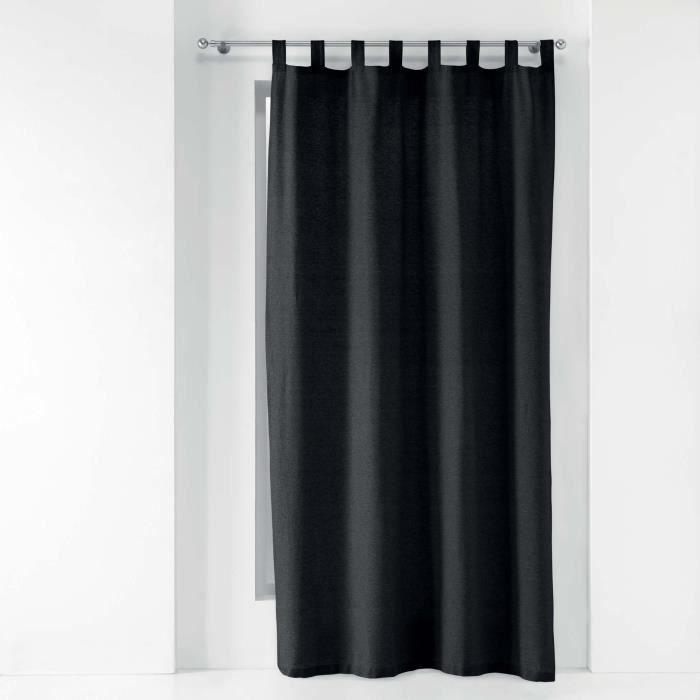 CDaffaires Rideau a passants 140 x 240 cm polycoton uni texas Noir