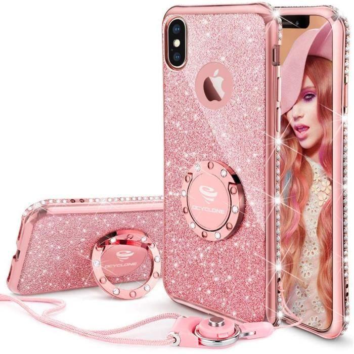 Coque iPhone X, Paillette Coque Con Diamant Strass Anneau pour Femme, Paillette Brillante Ultra Slim TPU Bumper Coque Apple iPhone