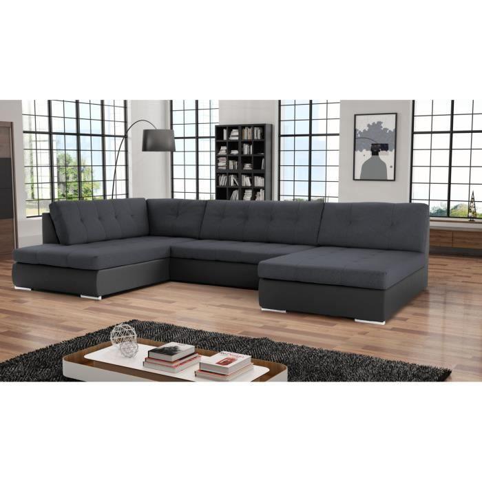 Canapé d'angle en U panoramique convertible Paola. Tissu et Simili Cuir Noir