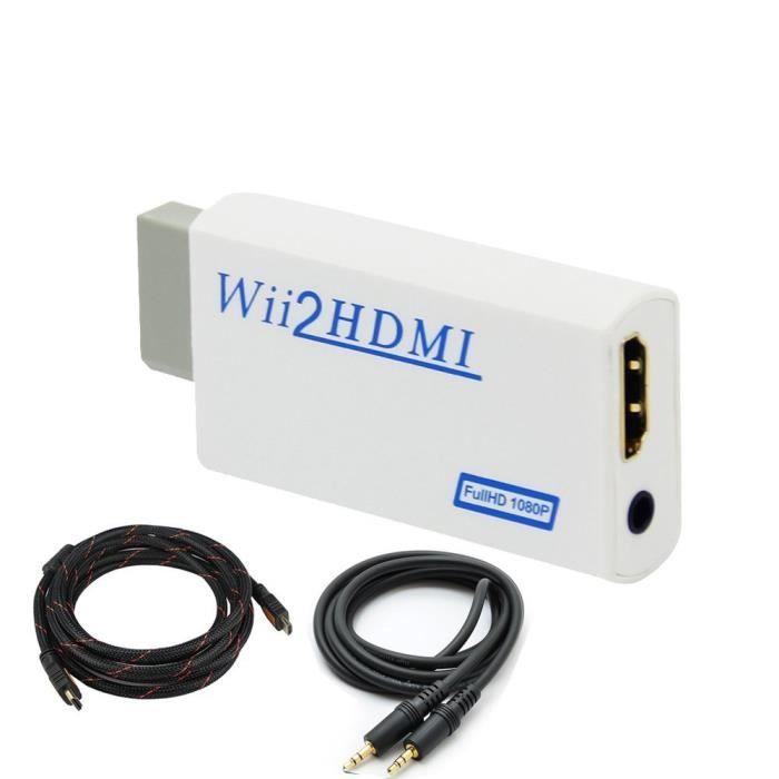 Mini Kitty ® Convertisseur Adaptateur pour Wii vers HDMI 720P/1080P pour NTSC 480i 480p, PAL 576i et écran HD + Câble HDMI 1,4 mâle