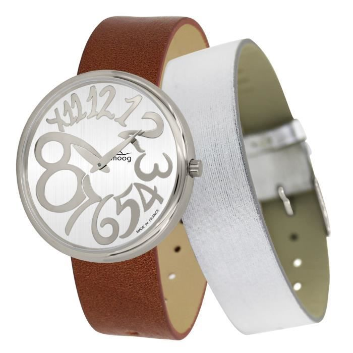 Moog Paris Ronde Art-deco Women's Watch with White Dial, Brown Strap in Genuine Leather - M41672-E14