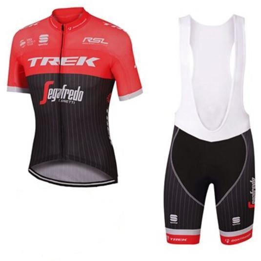 Maillot de Cyclisme Manches Courtes Team TREK Pro,Cuissard Vélo avec Bretelle Homme Shorts +TELEYI Chapeau de Pirate VTT Tour France