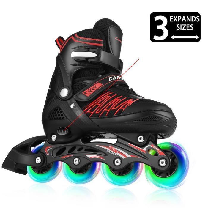 Roller in line réglable, Roller Inline Unisexe Patins Adultes Filles Skates Garçons, avec 4 roues lumineux (Taille 31-42)