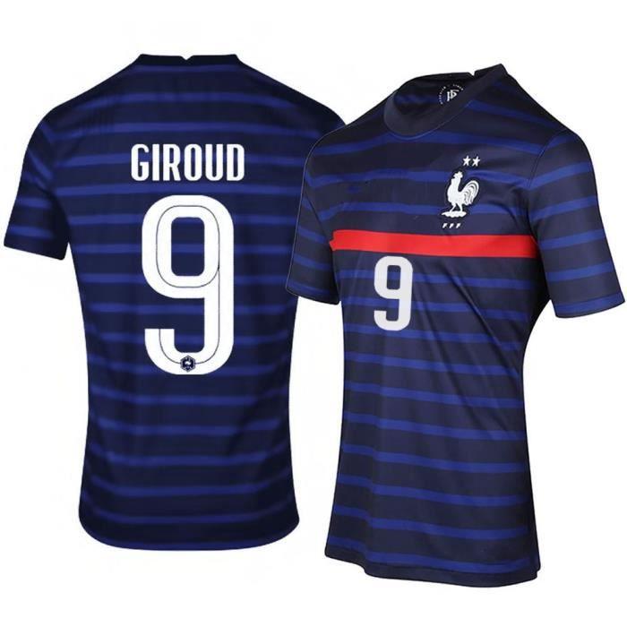 Maillot de Football France 2021 GIROUD 9 T-Shirt de L'équipe FFF Domicile Maillot de Formation Tissu Respirant Bleu Junior Enfant