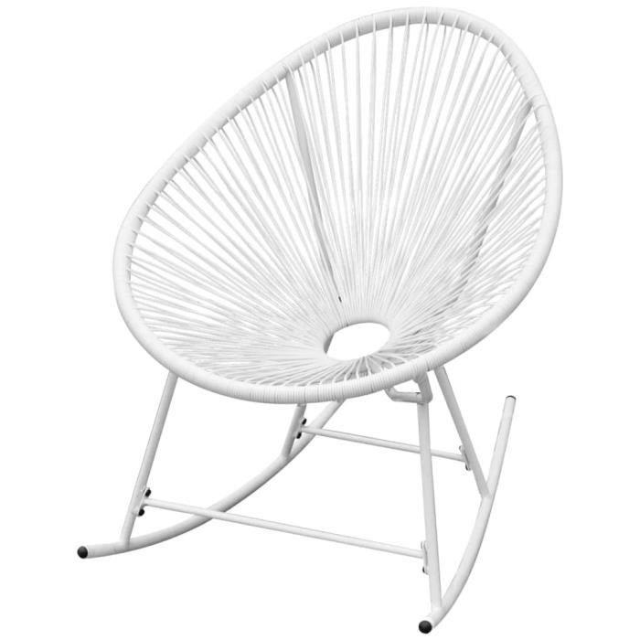 Chaise à bascule Fauteuil à bascule relax Comfortable d'extérieur Blanc Résine tressée