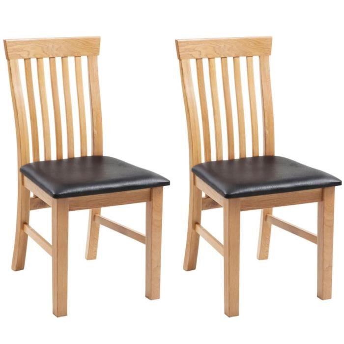 5009LIFE® Lot de 2 Fauteuils chaises,Retro-Design,Chaises de salon,Chaises à dîner, Bois de chêne massif et similicuir