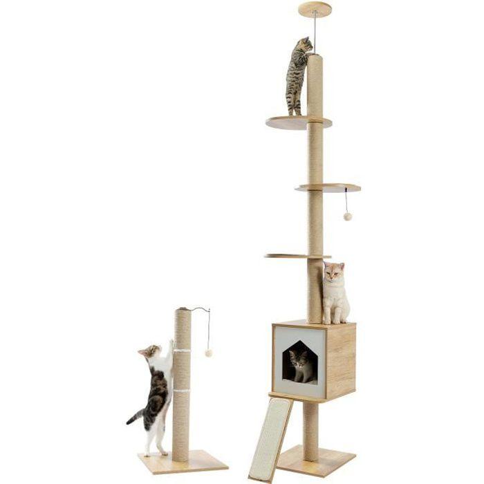 PAWZ Road arbre a chat en bois design moderne tour au plafond deluxe, arbre chat plafond, multi etage, beige, 240-260cm