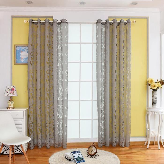 Semi-blackout Rideaux jacquard Tulle fenêtre Traitement Sheer Voile drapé Lit Salon Porte Décor, gris, 100cm x 250c#9829