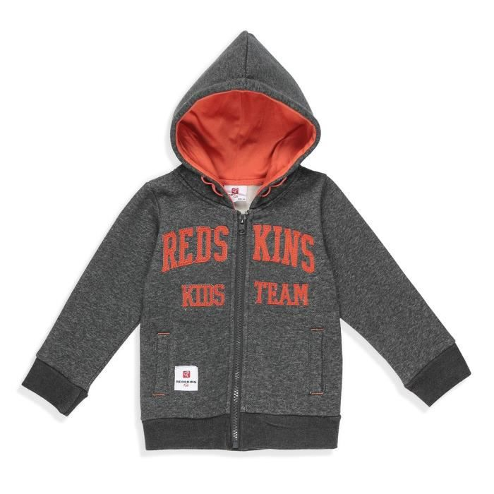 REDSKINS Veste Sweat Gris Anthracite Enfant Garçon