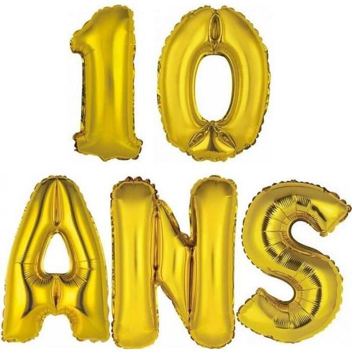 1 Kit Ballon aluminium anniversaire or 10 ANS