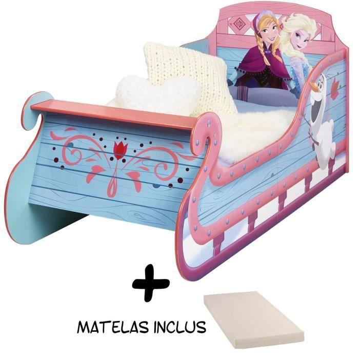 Lit enfant Traineau Reine des Neiges avec rangement Disney + Matelas