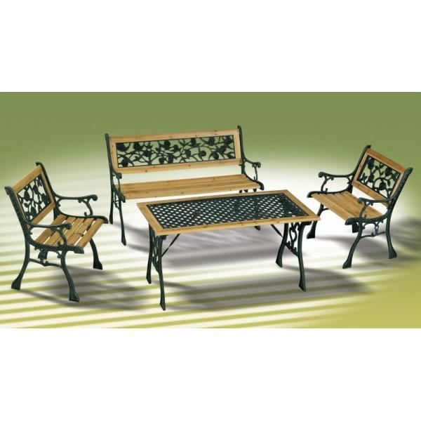ensemble bois et fonte table fauteuils et banc achat vente salon de jardin ensemble bois et. Black Bedroom Furniture Sets. Home Design Ideas