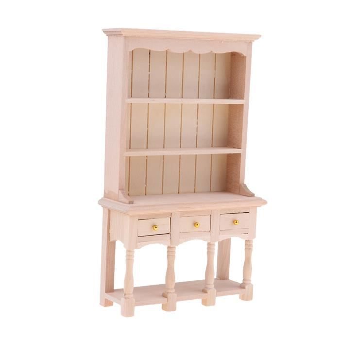Maison de poupées miniature 1:12th Cuisine Couloir mobilier en chêne foncé banc en bois