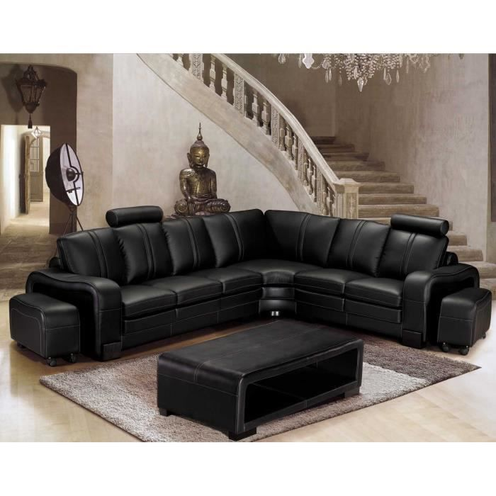 canap d 39 angle en cuir noir cubana angle droite 2 poufs achat vente canap sofa. Black Bedroom Furniture Sets. Home Design Ideas